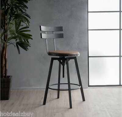 Peachy Industrial Metal Bar Stool Adjustable Wood Back Kitchen High Chair Dining Rustic Ebay Pabps2019 Chair Design Images Pabps2019Com