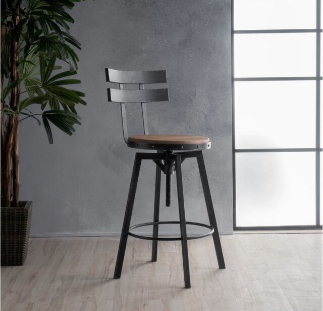 Awesome Industrial Metal Bar Stool Adjustable Wood Back Kitchen High Chair Dining Rustic Inzonedesignstudio Interior Chair Design Inzonedesignstudiocom