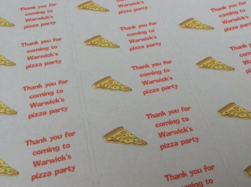 24 X Personalised PIZZA inspired Stickers Party Seals for sweet cone bags