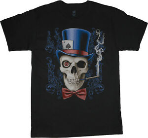Big and tall t shirt skull top hat heavy metal rock tee for Big and tall rock t shirts