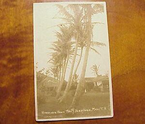 1925 Home & Yard Hana Maui TH Hawaii AZO RPPC USS Procyon Cancel