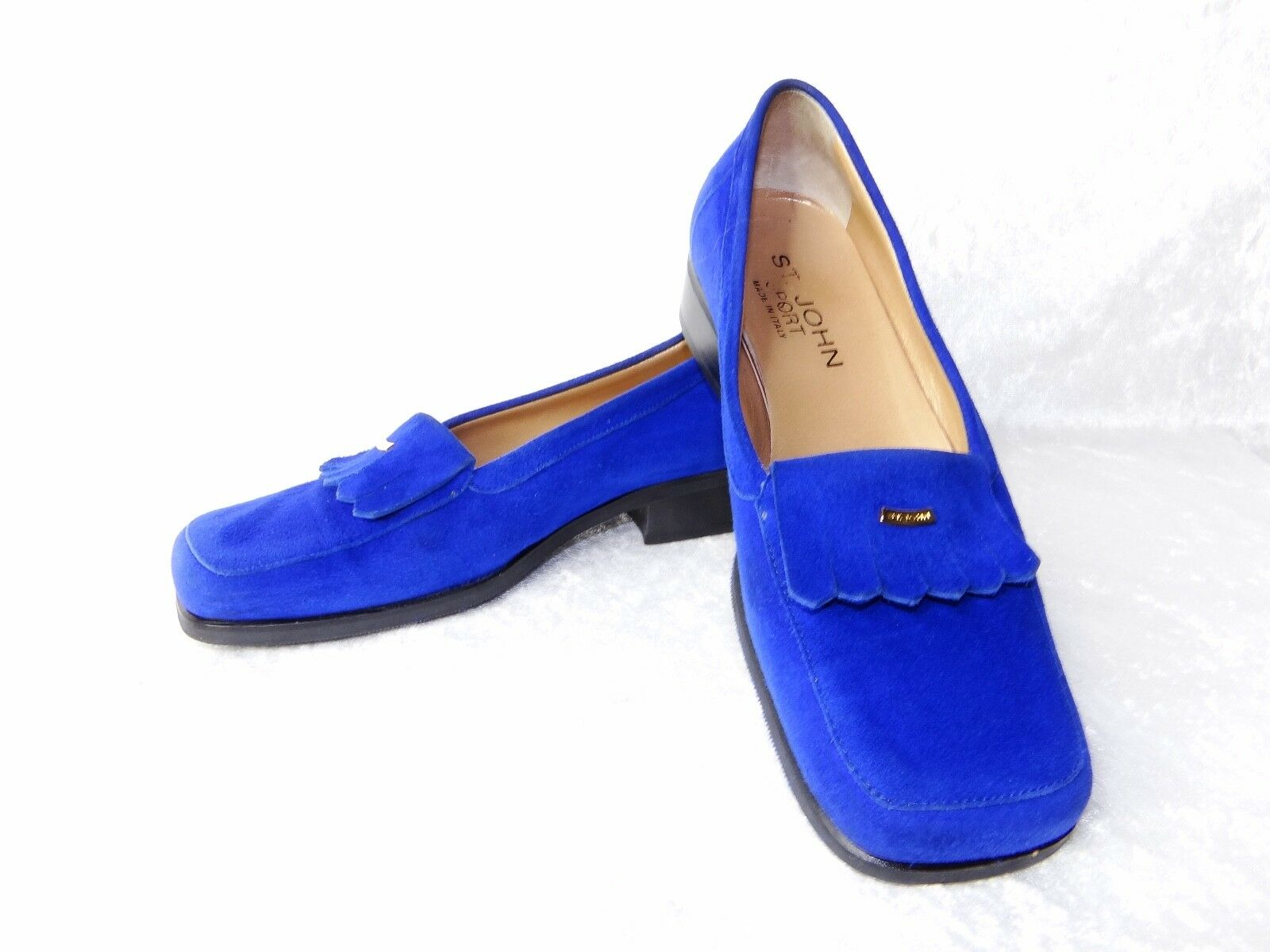 St John Sport Designer Womens Loafers 6.5 Vibram Sole Royal Blue Made in Italy