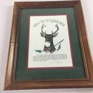 Daniel-Rhodes-Framed-Art-Signed-994-2000-Handcolored-How-To-Get-Your-Deer-1994