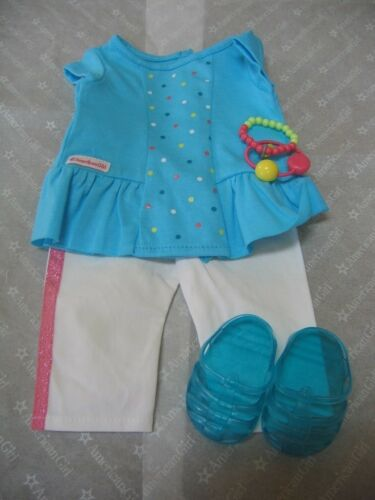 "NIB American Girl 18/"" Doll CLOTHES RAINBOW SPRINKLES OUTFIT Top Capris Sandals"
