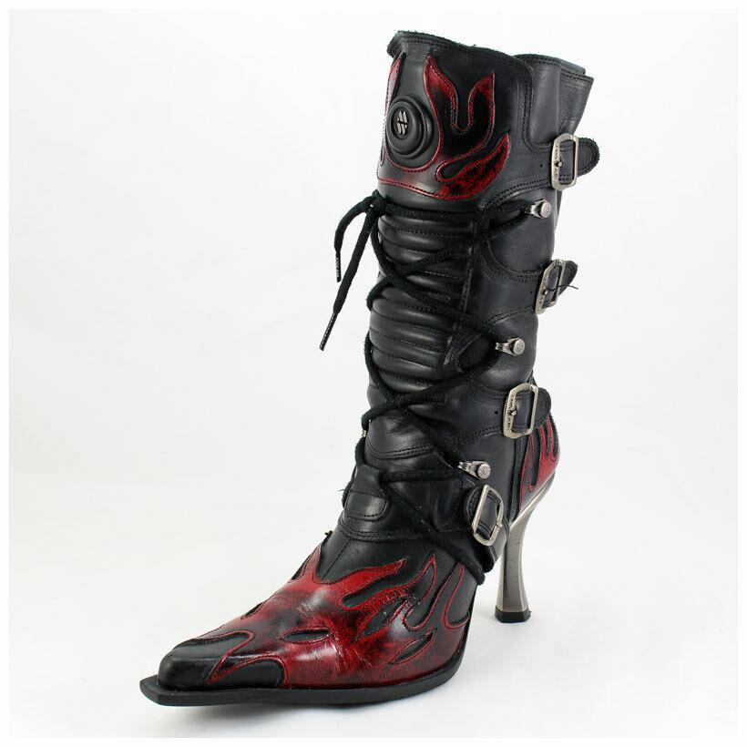 New Rock Stiefel Gr. 37 Malicia Stiefeletten schwarz mit roten Flammen ( 3359)