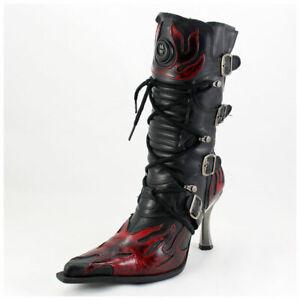 New-Rock-Stiefel-Gr-37-Malicia-Stiefeletten-schwarz-mit-roten-Flammen-3359