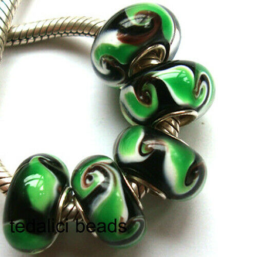 Wholesale Silver Lampwork Murano Glass Beads Fit European Charm Bracelet TF290