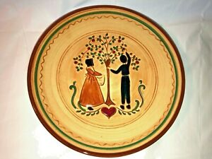 Vintage-Pennsbury-Pottery-Apple-Picking-8-034-Plate-Signed