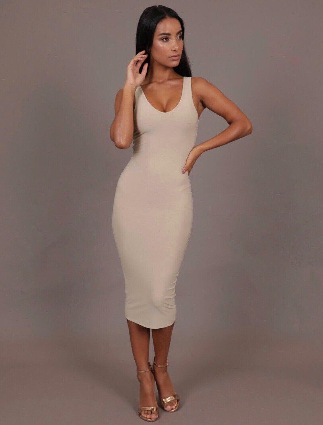 Boom Boom The Label   AYM Tana Bodycon Midis Dress As Worn By Kim Kardashian XS