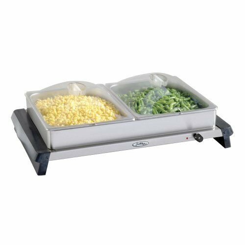 Broil King Professional Double Stainless-Steel Buffet Server with Plastic Lids