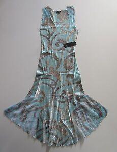 351bfa246d2 NWT KOMAROV Light Blue Scroll Print Lace Trim Sleeveless V-Neck ...