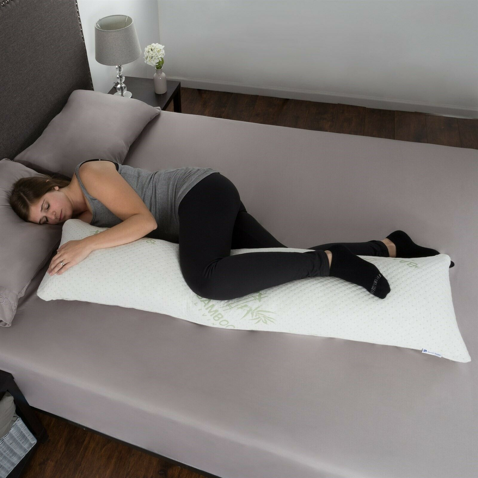 Image 01 - Memory-Foam-Body-Pillow-Side-Sleepers-Aching-Legs-RLS-Zippered-Bamboo-Cover