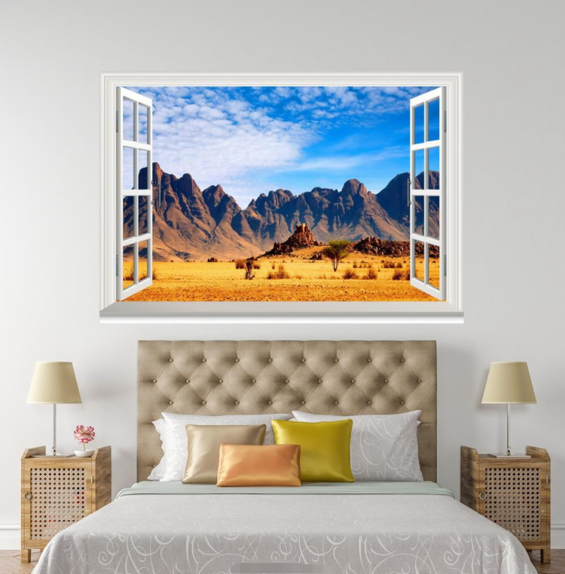 3D Mountain Lawn 709 Open Windows WallPaper Murals Wall Print Decal Deco AJ WALL