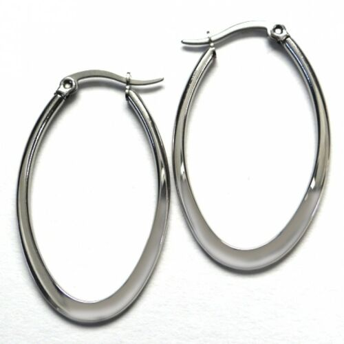Titan Titanium Klapp Ohrhänger Creolen Ohrringe Kreolen Damen oval matt glanz 61
