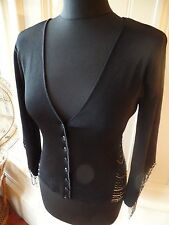 Glamorous Vintage Karen Millen Beaded Black Cardigan - Size 1 (8-10)