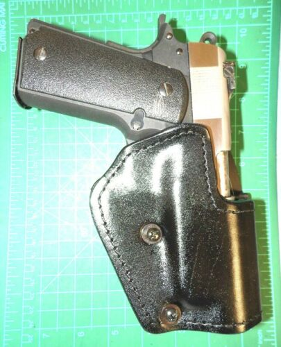 "Front Line LKC64P-BK RH Leather Kydex Paddle Holster Lined Colt Kimber 4/"" 1911"