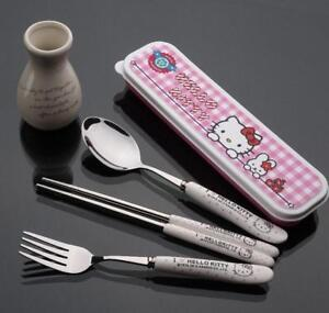Cute-3pcs-Hello-Kitty-Stainless-Steel-Food-Fork-amp-Spoon-amp-Chopsticks-Dinner-Set