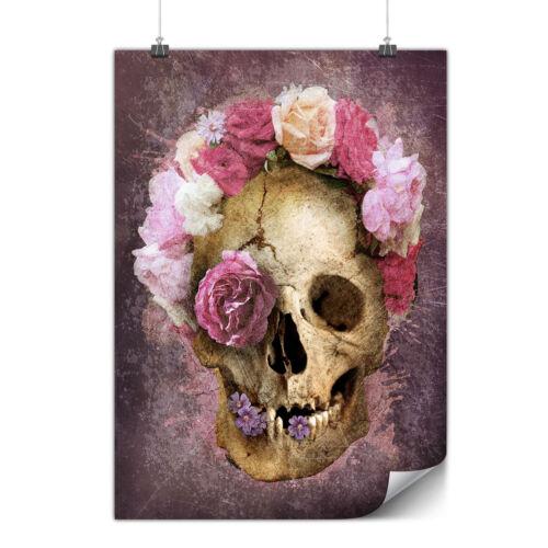 Skull Flower Rose Matte//Glossy PosterWellcoda