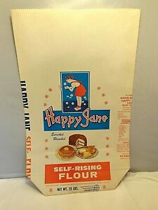 VINTAGE HAPPY JANE SELF RISING FLOUR PAPER SACK BAG 25LB. BOWLING GREEN, KY.
