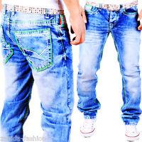 Herren Jeans Designer Kosmo Hose Cargo Style Grün dicke Naht Clubwear Lupo NEU