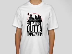 Kids Straight Outta Hogwarts T-Shirt Boys Girls Harry Potter Inspired Top 7-14YR