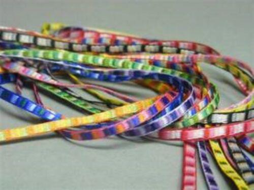 10 COLOUR Berisfords 9424 Ditto Ribbon.Multi-Coloured Satin3mm Woven BUY 1 2 4m+