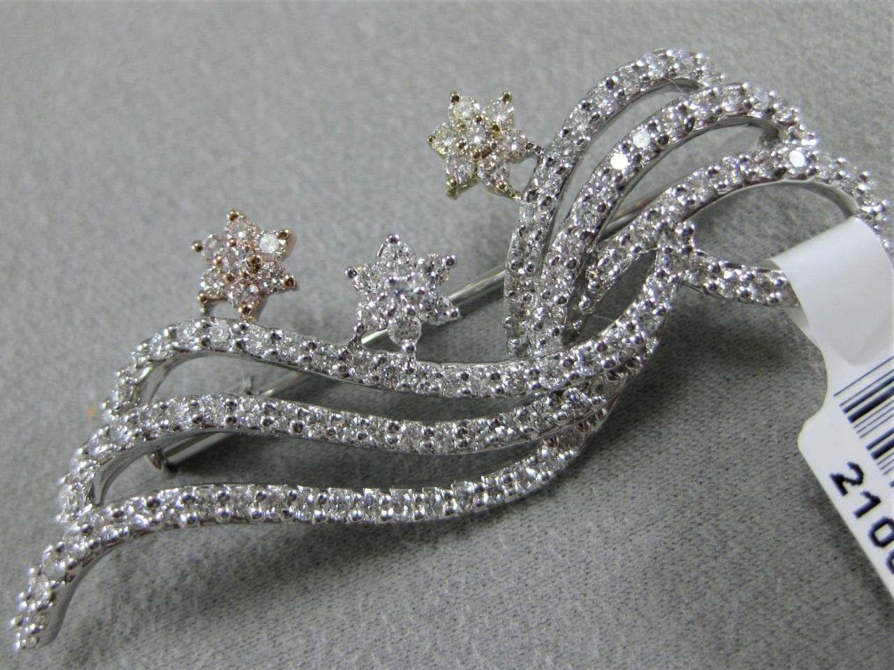 MODERN PAVE DIAMOND 14KT WYR pink gold FLOWER STARS SWIRLS PIN PENDANT