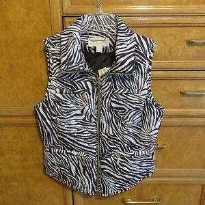 6f0e1d3a605b Women s Michael Kors brown white animal print vest size M packable ...