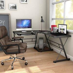 Superieur Details About L Shaped Computer Desk Corner Office Home Furniture Black  Table Workstation