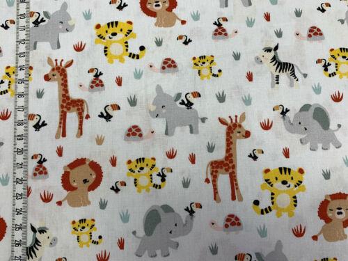 Tiere auf weiß Baumwollstoff Safari