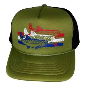 Image is loading Trout-Olive-Army-Green-Striped-Snapback-Mesh-Trucker- 7961036aeca