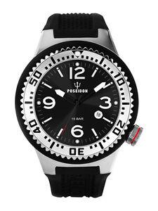 POSEIDON-Herren-Armbanduhr-XL-Slim-Analog-Silikon-UP00384-Schwarz-UVP-119
