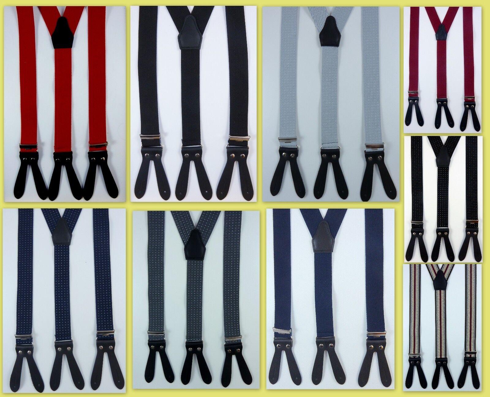 flotte Hosenträger mit Lederpatten zum knöpfen, viele Farben und Muster,