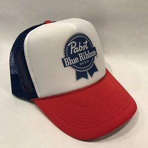 PBR Pabst Blue Ribbon Beer Trucker Hat! Vintage 80 s Style Mesh ... 70ca1869ae20