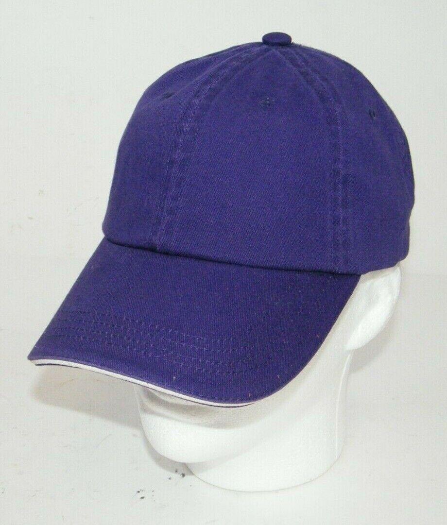 (11) PORT AUTHORITY PURPLE WITH WHITE STRIPE CLOSURE C830 SANDWICH BILL CAP HATS