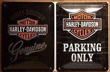Harley Davidson Genuine&Parking Only Embossed Steel Sign (Pack Of 2) 15x20cm