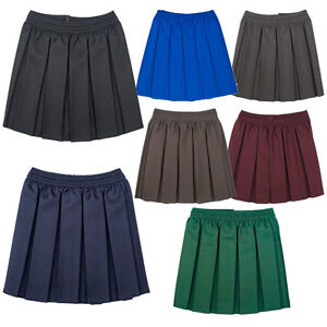 0f60d5561b Image is loading Girls-School-Uniform-Box-Pleated-Elasticated-waist-school-