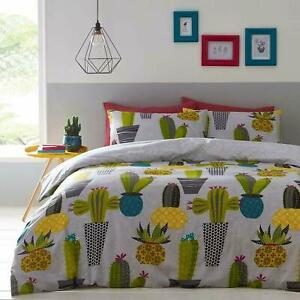 Gris-Blanco-Amarillo-Verde-Cactus-Cactus-tema-King-Size-duvet-cover-Juego-De-Cama