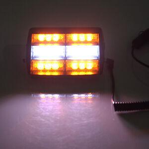 18 led einsatzfahrzeug blitzleuchten lichtbalken warnleuchten auto wei mit gelb ebay. Black Bedroom Furniture Sets. Home Design Ideas
