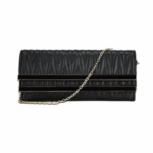 New Womens Quilted Faux Leather Clutch Bag Women/'s Quilted Finish Evening Bag