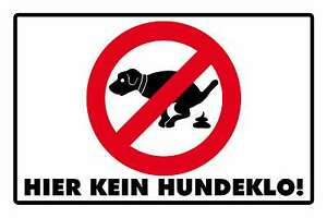 Blechschild - HIER KEIN HUNDEKLO WARNSCHILD - 20x30 cm ...