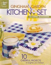 GINGHAM GARDEN KITCHEN Crochet Flower Pattern Book NEW