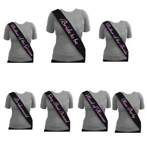 Black-Hen-Night-Party-Sashes-Bride-To-Be-Bridesmaid-Mother-Of-Maid-Of-Sash-GIRLS