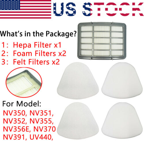 2 Pack XFF350 Foam and Felt Filter Kit For Shark NV356E US XHF350 HEPA Filter