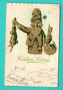 Germania-Pasqua-Gnomo-Coniglio-e-Uova-Vintage-Goffrato-Cartolina-Usato-275