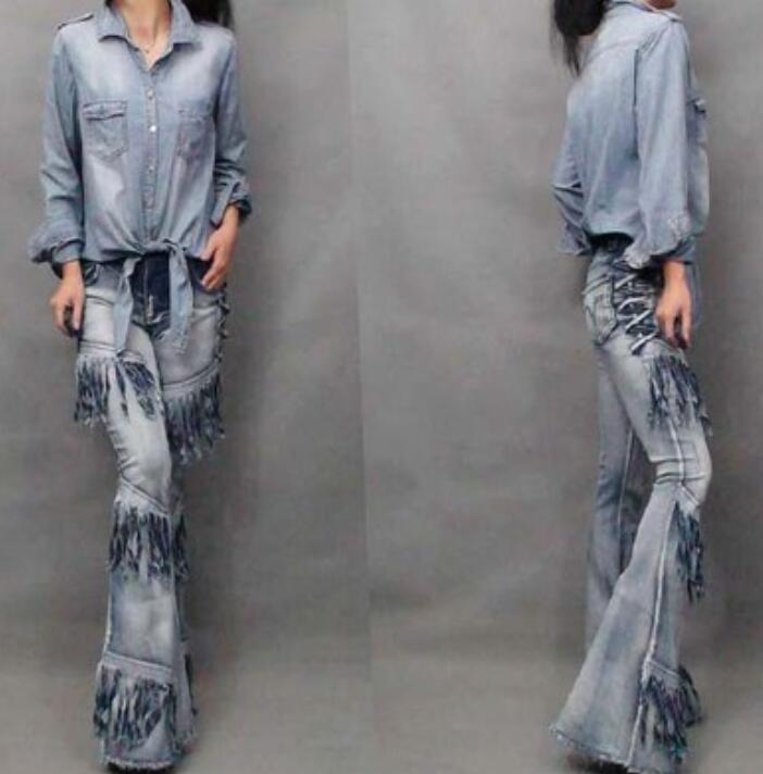 New Women's Street Style Denim Boot Cut Pants Tassel Splice Fashion Skirt