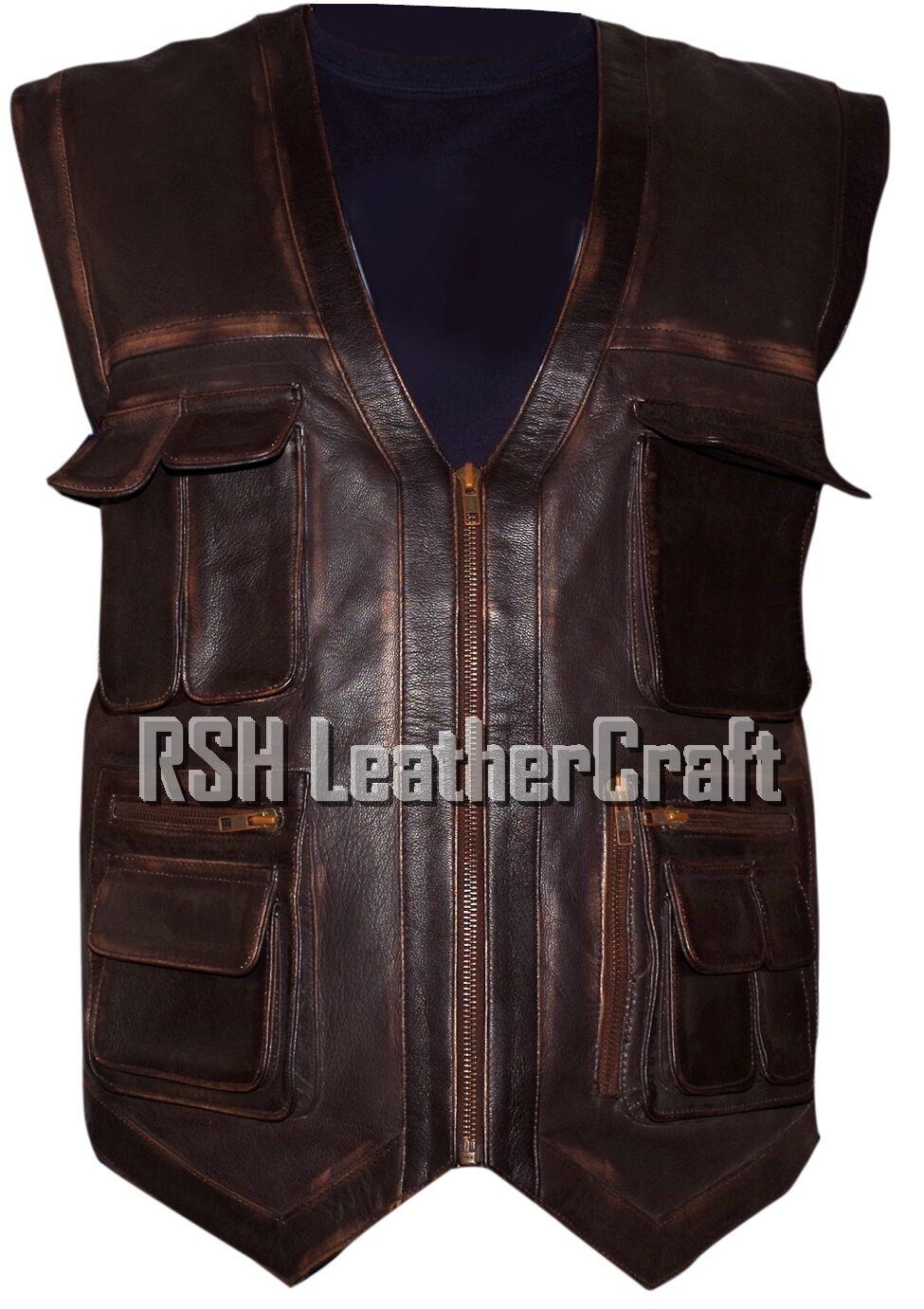 Jurassic World Chris Pratt Owen Grady Braun Distressed Real Leder Vest