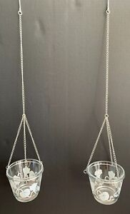 Set-Of-2-Floral-Design-Glass-Hanging-Planter-Holder-With-Hook-Chains