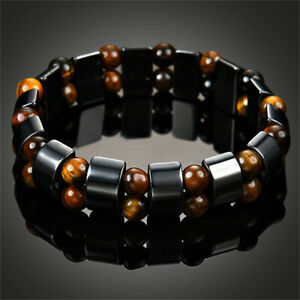 Black-Magnetic-Bracelet-Hematite-Stone-Weight-Loss-Therapy-Health-Care-Jewelry