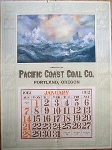 Portland, OR 1912 Advertising Calendar / 30x40 GIANT Poster: Pacific Coast Coal